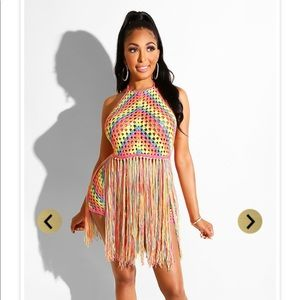 Two piece colorful fringe set